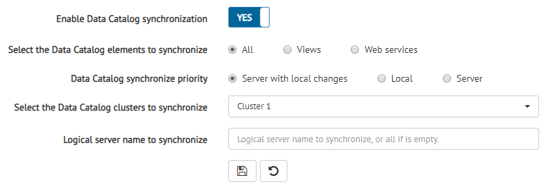 Data Catalog Server Synchronization configuration