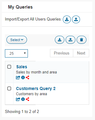 Import/export all users queries
