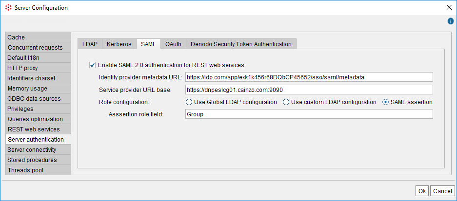 Configuration of SAML authentication using role extraction by assertion