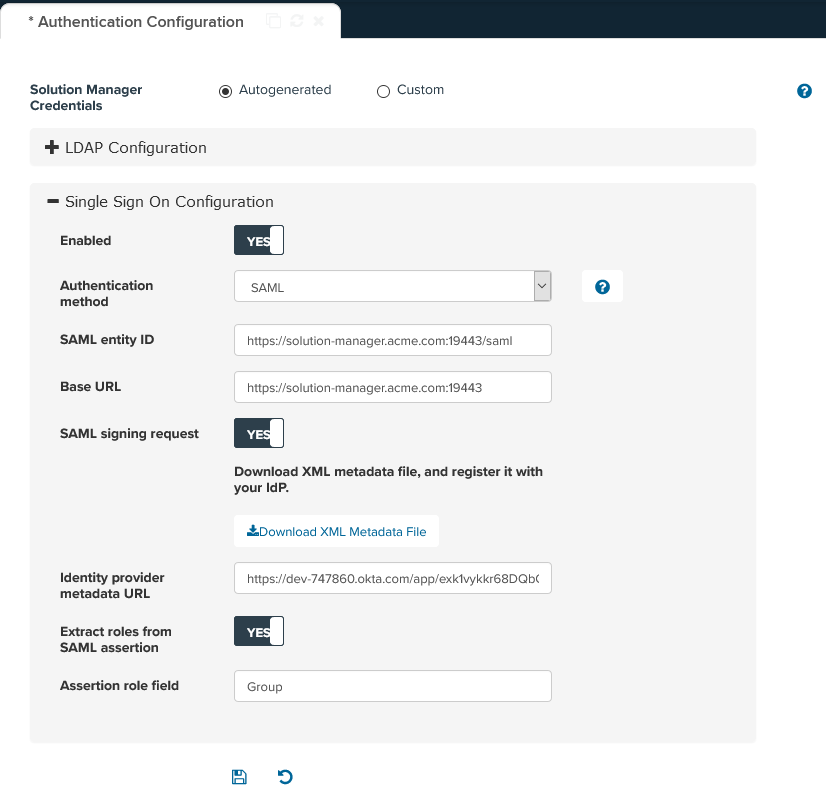 Single Sign-On Configuration with SAML