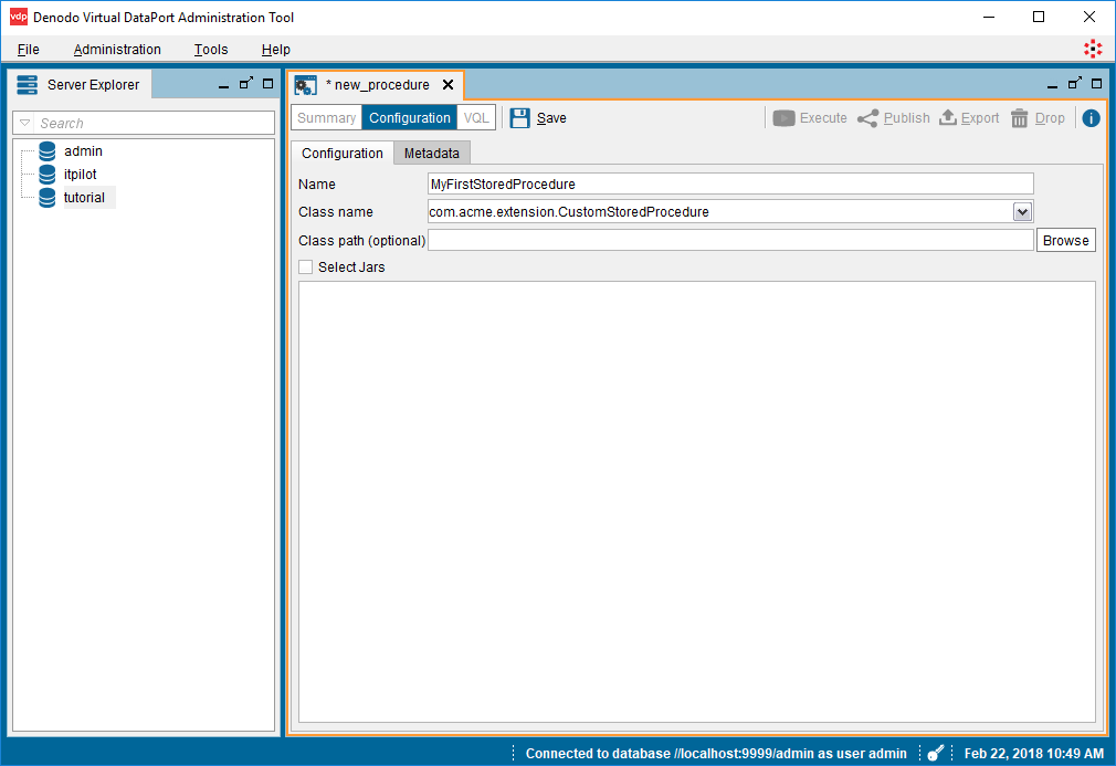 Virtual DataPort administration tool - New Stored Procedure Wizard