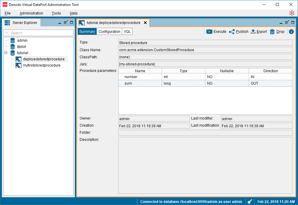Virtual DataPort administration tool - Stored Procedure tab
